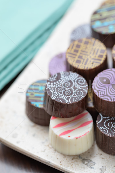 Artisan Fine Chocolate Candy On Serving Dish Stock photo © feverpitch