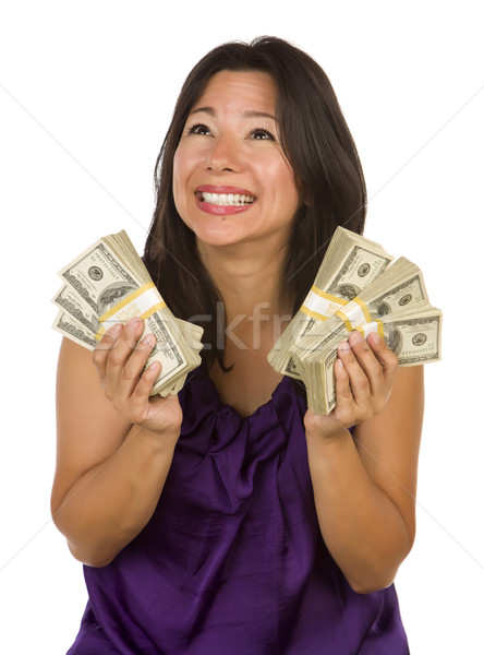 Excited Multiethnic Woman Holding Hundreds of Dollars Stock photo © feverpitch