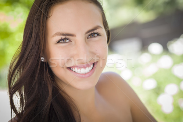 Attractive Mixed Race Girl Portrait Stock photo © feverpitch