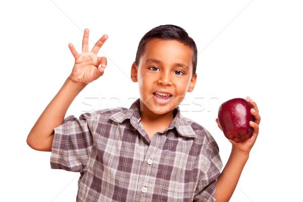 çok güzel koyu esmer erkek elma tamam el işareti Stok fotoğraf © feverpitch