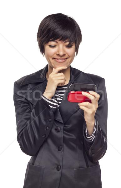 Expressivo mulher celular branco atraente Foto stock © feverpitch