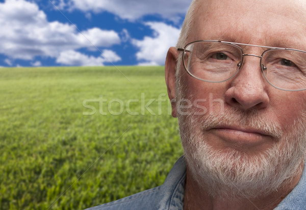 Melancholy Senior Man with Grass Field Behind Stock photo © feverpitch