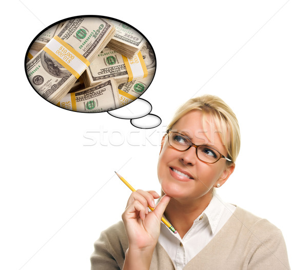 Woman with Thought Bubbles Lots of Money Stock photo © feverpitch