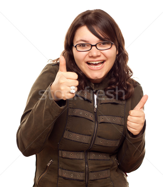 Excited Young Caucasian Woman With Thumbs Up Stock photo © feverpitch