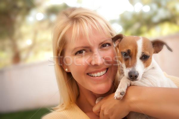 Vonzó nő jack russell terrier kutya kint szelektív fókusz portré Stock fotó © feverpitch