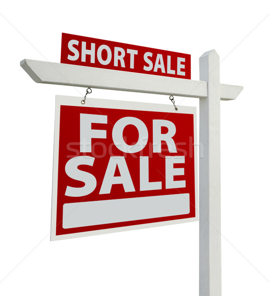 Short Sale Real Estate Sign Isolated - Left Stock photo © feverpitch