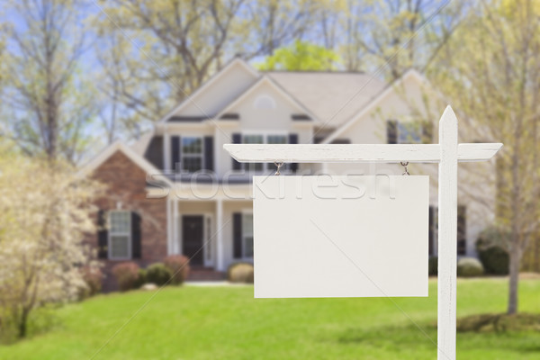 Blank Real Estate Sign in Front of New House  Stock photo © feverpitch