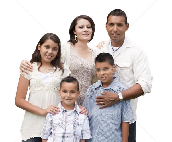 счастливым привлекательный Hispanic Семейный портрет белый изолированный Сток-фото © feverpitch
