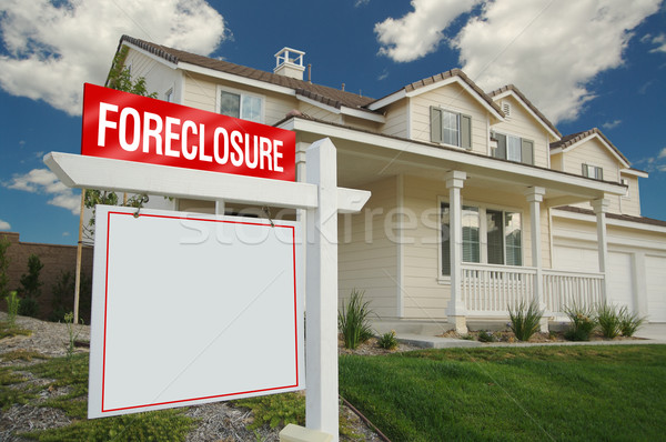 Blank Foreclosure Real Estate Sign & New Home Stock photo © feverpitch
