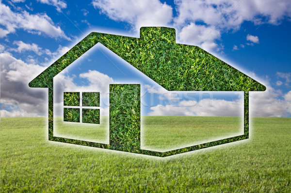 Green Grass House Icon Over Field, Sky and Clouds Stock photo © feverpitch
