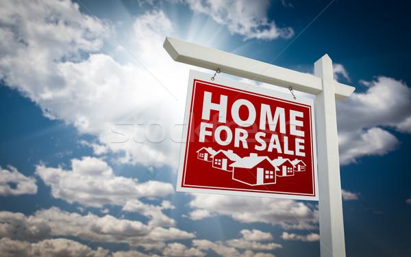 Kırmızı ev satış gayrimenkul imzalamak bulutlar Stok fotoğraf © feverpitch