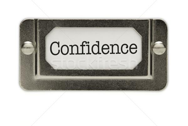 Photo stock: Confiance · fichier · tiroir · étiquette · isolé · blanche