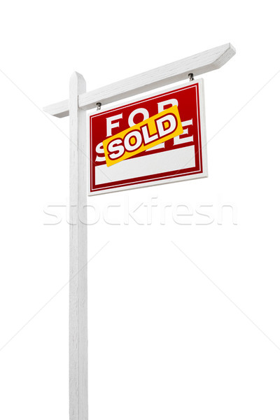 Right Facing Sold For Sale Real Estate Sign Isolated on a White  Stock photo © feverpitch