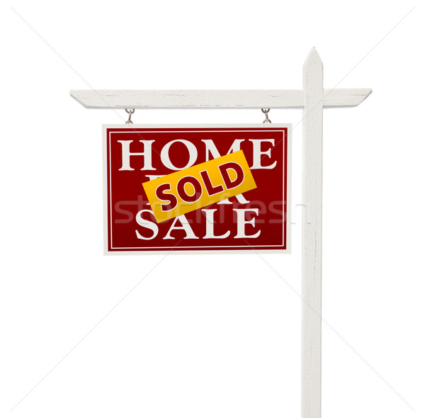 Stock fotó: Piros · eladva · vásár · ingatlan · felirat · fehér