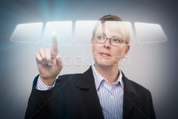 Nő toló interaktív érintőképernyő gomb vonzó Stock fotó © feverpitch