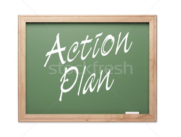 Tevékenység terv zöld kréta tábla fehér Stock fotó © feverpitch