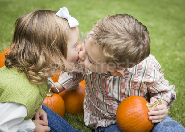 Cute Young Brother and Sister Kiss At the Pumpkin Patch Stock photo © feverpitch