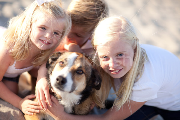 Cute Sisters and Brother Playing with Dog Stock photo © feverpitch