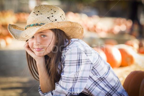Preteen Girl Portrait at the Pumpkin Patch Stock photo © feverpitch