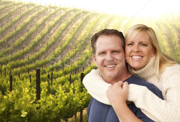 Gelukkig hartelijk paar mooie wijn wijngaard Stockfoto © feverpitch