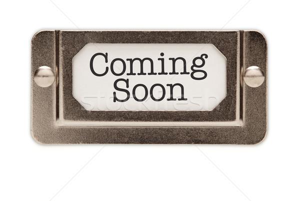 Zdjęcia stock: Już · wkrótce · pliku · szuflada · etykiety · odizolowany · biały