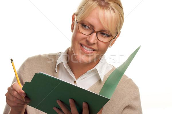 Stok fotoğraf: Güzel · bir · kadın · kalem · Klasör · kâğıt · okul
