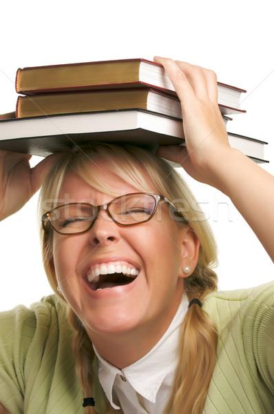 Mujer atractiva libros aislado blanco estudiante educación Foto stock © feverpitch