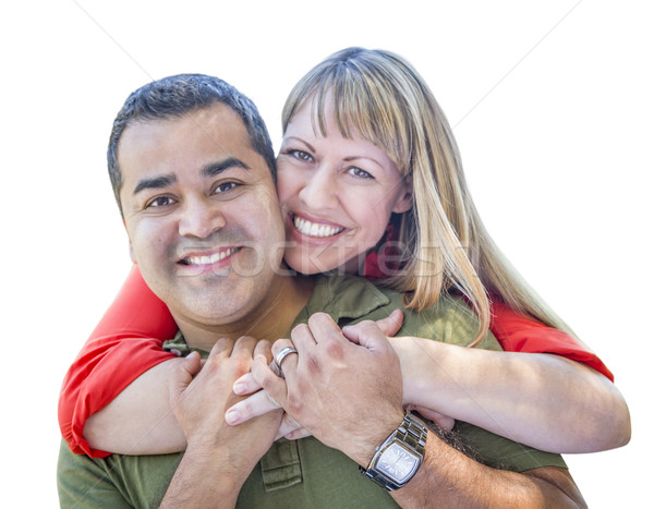 Attractive Mixed Race Couple on White Stock photo © feverpitch