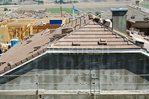 New Home Construction Site Roof Stock photo © feverpitch