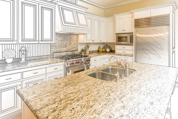Custom Kitchen Design Drawing and Gradated Photo Combination Stock photo © feverpitch