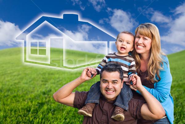 Stockfoto: Halfbloed · familie · huis · tekening · achter · groene