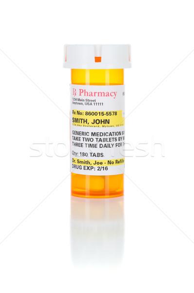 Uno medicina prescrizione bottiglia isolato bianco Foto d'archivio © feverpitch