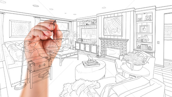 Hand Drawing Custom Living Room Design On A White Background. Stock photo © feverpitch