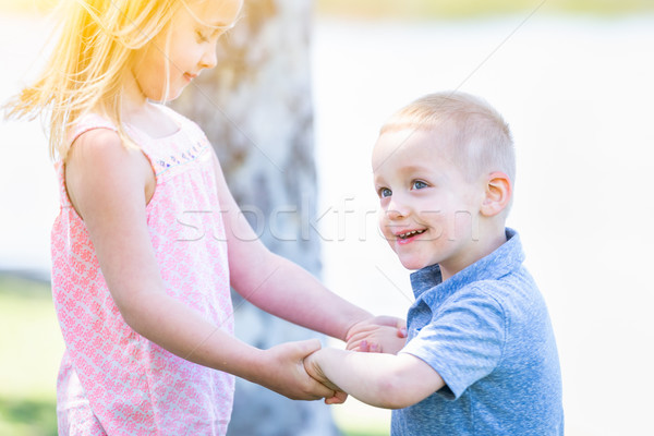 Young Brother and Sister Playing At The Park Togther Stock photo © feverpitch