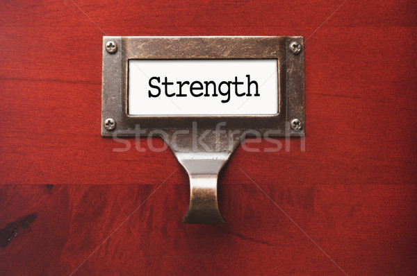 Lustrous Wooden Cabinet with Strength File Label Stock photo © feverpitch