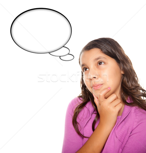 Hispanic Teen Aged Girl with Blank Thought Bubble Stock photo © feverpitch