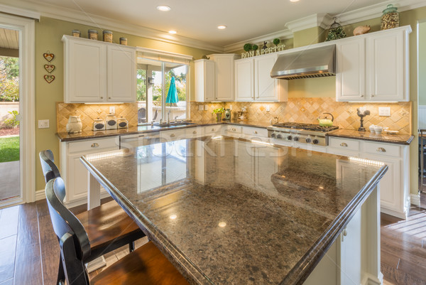 Mooie gewoonte keuken interieur huis licht Stockfoto © feverpitch