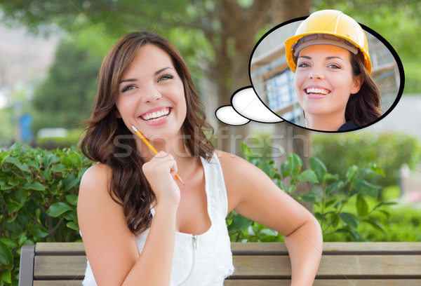 Nadenkend jonge vrouw bouwer binnenkant gedachte bel Stockfoto © feverpitch