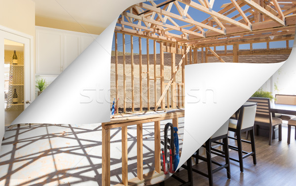Kitchen Construction Framing with Page Corners Flipping to Compl Stock photo © feverpitch
