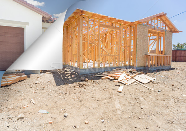 House Construction Framing with Page Corner Flipping to Complete Stock photo © feverpitch