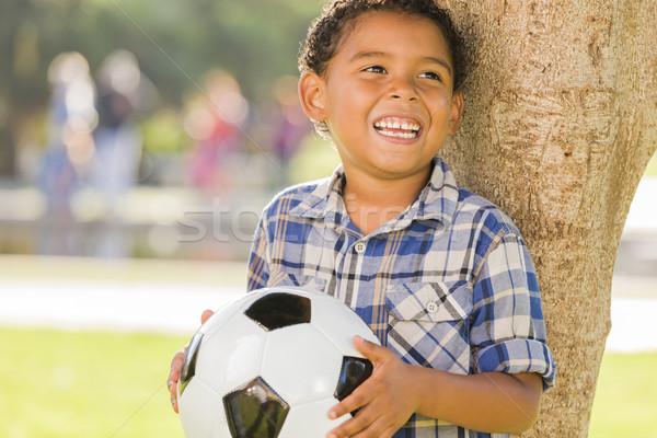 混血 少年 サッカーボール 公園 ツリー ストックフォト © feverpitch