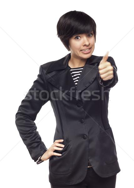 Feliz jovem mulher branco Foto stock © feverpitch