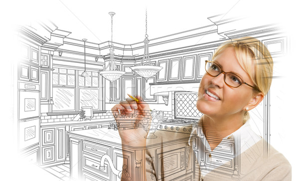 Woman With Pencil Drawing Custom Kitchen Design Stock photo © feverpitch