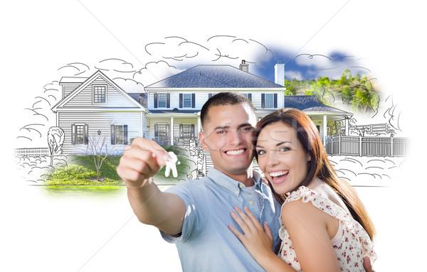 Militar cuplu chei casă desen fotografie Imagine de stoc © feverpitch