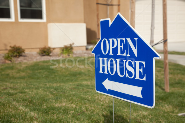 Blue Open House Sign Stock photo © feverpitch