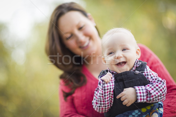 Little Baby Boy Having Fun With Mommy Outdoors Stock photo © feverpitch