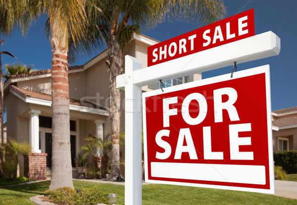Short Sale Real Estate Sign and House - Right Stock photo © feverpitch