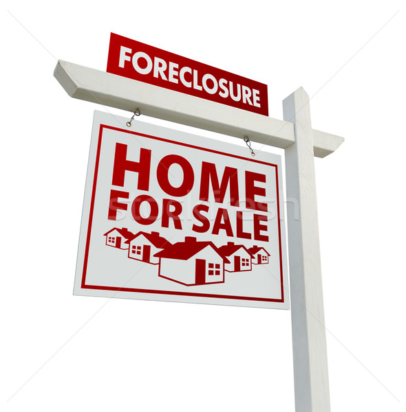 Red Foreclosure Home For Sale Real Estate Sign on White Stock photo © feverpitch
