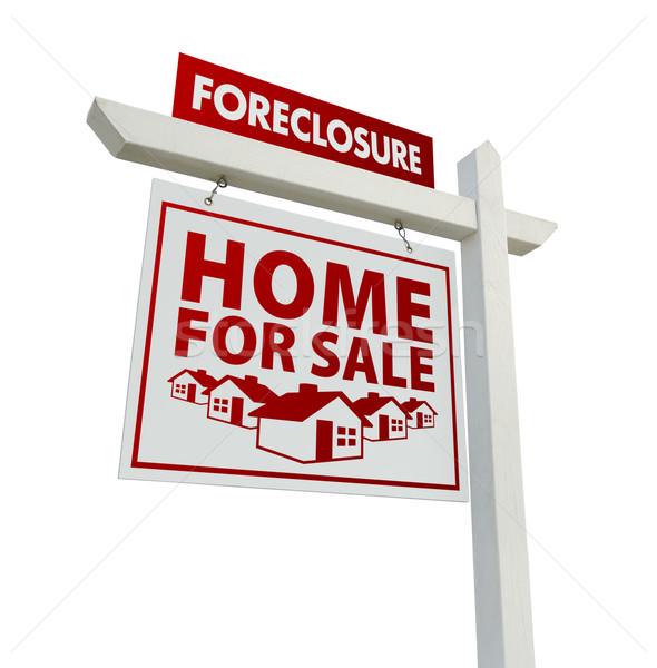 Kırmızı cebri icra ev satış gayrimenkul imzalamak Stok fotoğraf © feverpitch