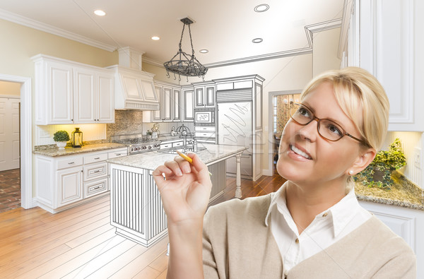 Woman With Pencil Over Custom Kitchen Drawing and Photo Combinat Stock photo © feverpitch